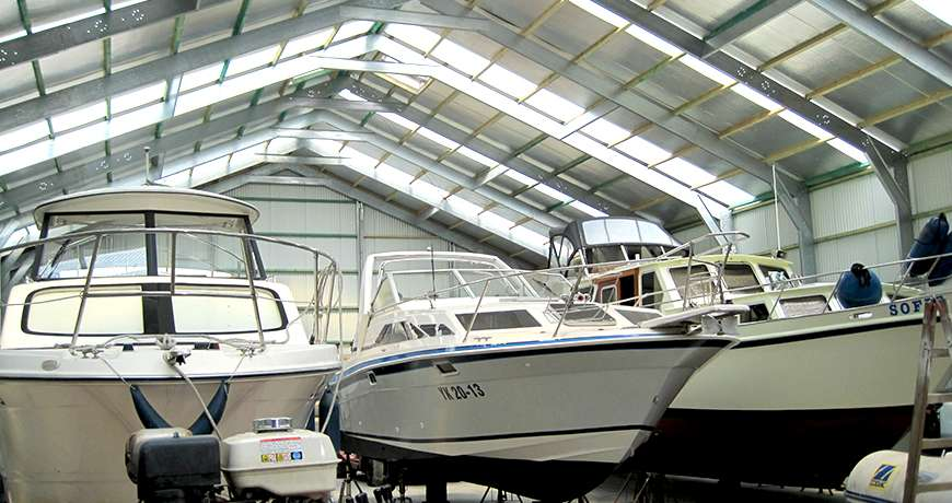 Sports storage steel hall interior boats dry and safe